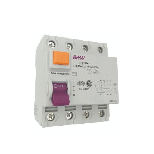 INTERRUPTOR DIFERENCIAL 4 X 25 AMP 30MA BAW